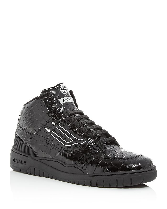 Bally - Men's King Croc-Embossed Leather High-Top Sneakers
