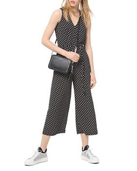 MICHAEL Michael Kors - Belted Dot-Print Crepe Jumpsuit