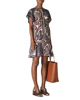 Whistles - Flounced Leaf-Print Shirt Dress
