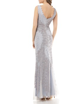 JS Collections - Embroidered Leaf Gown