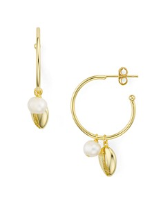 Argento Vivo - Seychelle Charm Small Hoop Earrings in 18K Gold-Plated Sterling Silver