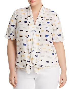 NIC and ZOE Plus - Block Island Tie-Front Top