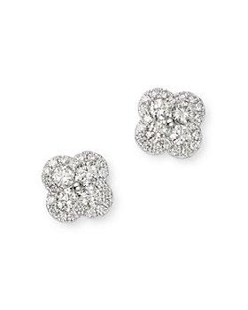 Bloomingdale's - Diamond Clover Stud Earrings in 14K White Gold, 0.55 ct. t.w. - 100% Exclusive