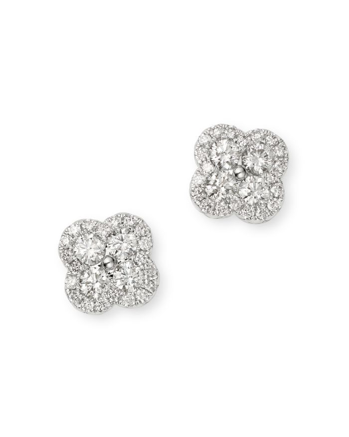 Bloomingdale's Diamond Clover Stud Earrings in 14K White Gold, 0.55 ct. t.w. - 100% Exclusive  | Bloomingdale's