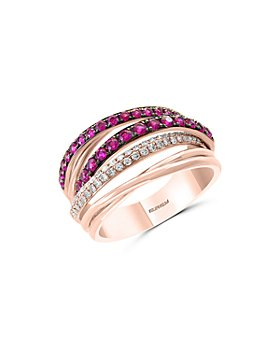 Bloomingdale's - Ruby & Diamond Crossover Band in 14K Rose Gold - 100% Exclusive