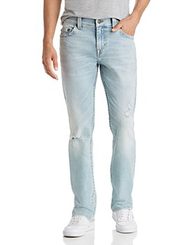 True Religion - Ricky No Flap Straight Slim Fit Jeans in Worn Blue Tide