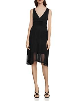 BCBGMAXAZRIA - Mesh & Jersey Crossover Dress