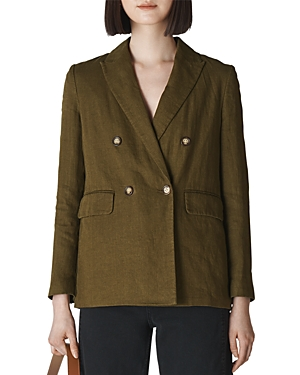 Whistles Double-Breasted Linen Blazer