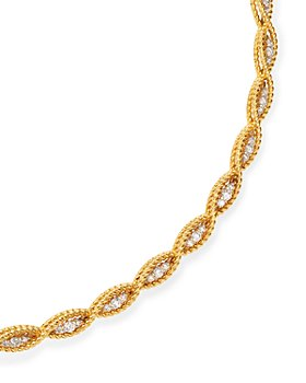 Roberto Coin - 18K Yellow & White Gold New Barocco Braided Collar Necklace with Diamonds, 15""