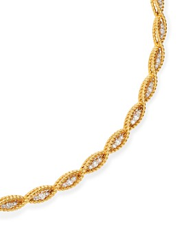 """Roberto Coin - 18K Yellow & White Gold New Barocco Braided Collar Necklace with Diamonds, 15"""""""
