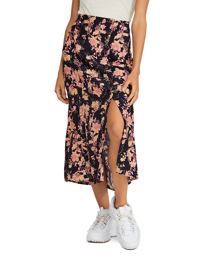 Free People - Retro Love Printed Button-Front Midi Skirt