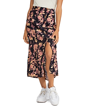 Free People Skirts RETRO LOVE PRINTED BUTTON-FRONT MIDI SKIRT