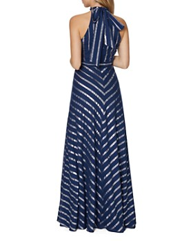 Laundry by Shelli Segal - Metallic Stripe Gown