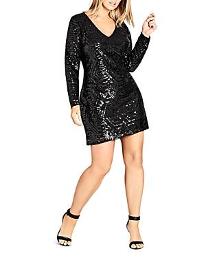 City Chic Plus Geometric Sequined Shift Dress