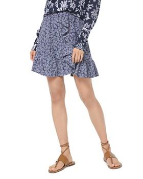 6a78e0fcd7a MICHAEL Michael Kors - Ruffled Coral-Print Crepe Mini Skirt ...