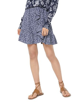 MICHAEL Michael Kors - Ruffled Coral-Print Crepe Mini Skirt