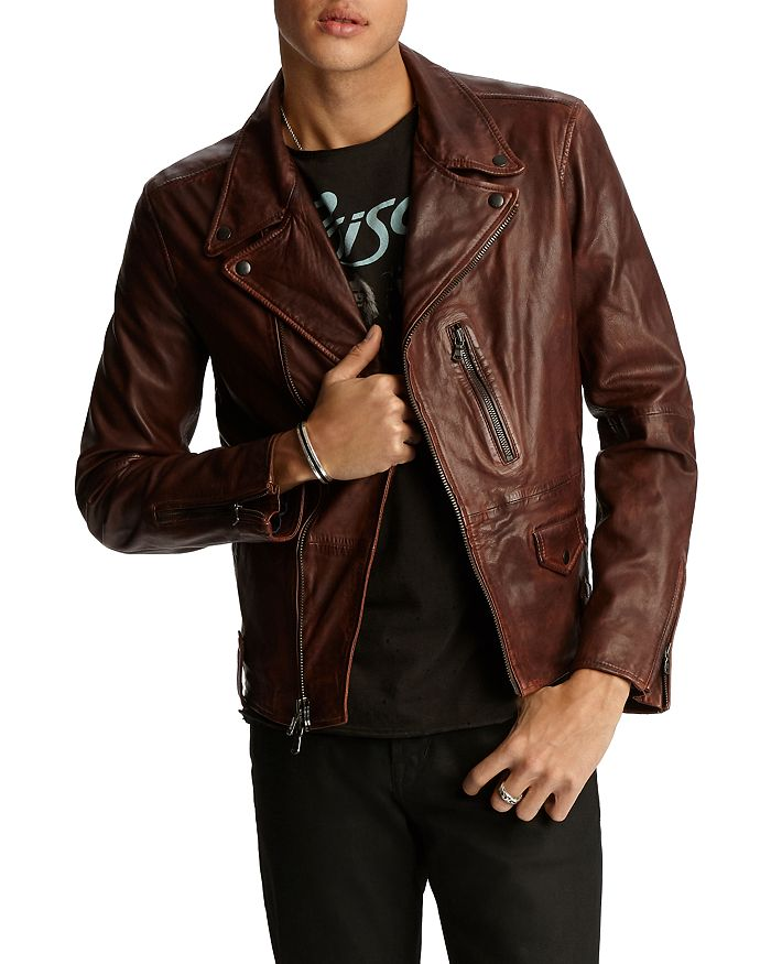 John Varvatos Star USA - Nubuck Leather Moto Jacket