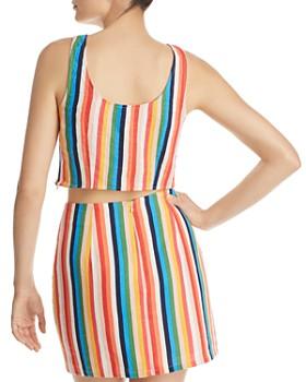 AQUA - Rainbow-Stripe Cropped Top - 100% Exclusive