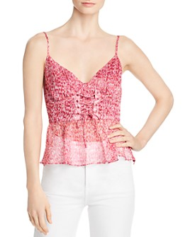 The East Order - Penny Printed Lace-Up Front Camisole Top