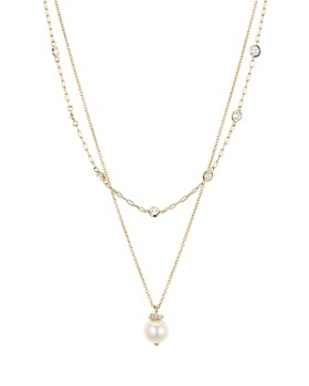 "Nadri - Sutton Cultured Freshwater Pearl Layered Pendant Necklace, 16"" & 18"""