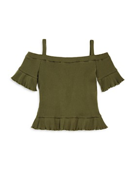 bebe - Girls' Ribbed Off-the-Shoulder Top - Big Kid