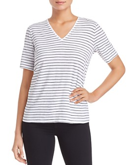 Eileen Fisher Petites - Organic Cotton Striped V-Neck Tee