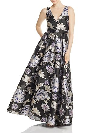 Aidan Mattox - Metallic Floral Ball Gown