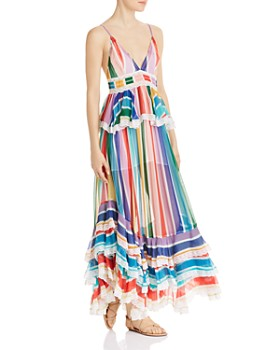 Rococo Sand - Striped Ruffled Maxi Dress