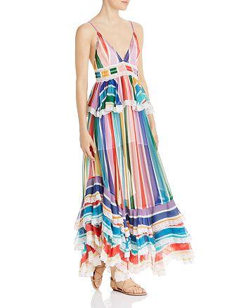 Rococo Sand - Striped Ruffled Maxi Dress