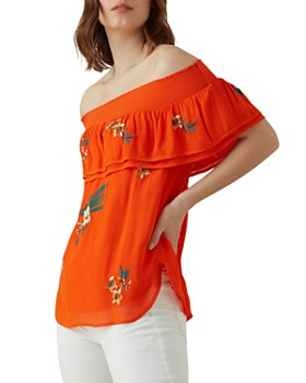 KAREN MILLEN - Embroidered Off-the-Shoulder Top