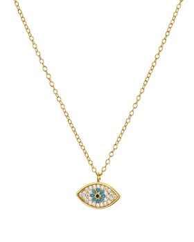 "AQUA - Evil Eye Necklace in 18K Gold-Plated Sterling Silver, 15"" - 100% Exclusive"