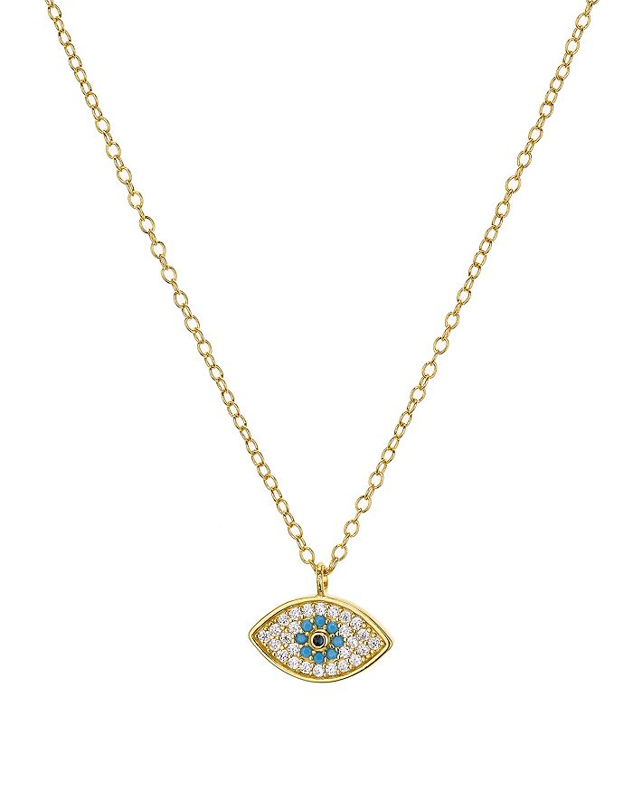 """AQUA - Evil Eye Necklace in 18K Gold-Plated Sterling Silver, 15"""" - 100% Exclusive"""