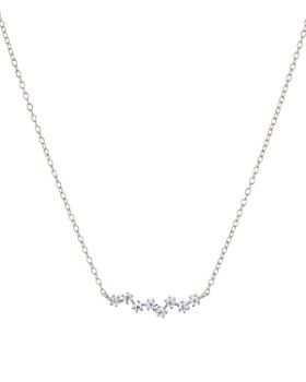 "AQUA - Dainty Cluster Bar Pendant Necklace in Sterling Silver, 14"" - 100% Exclusive"