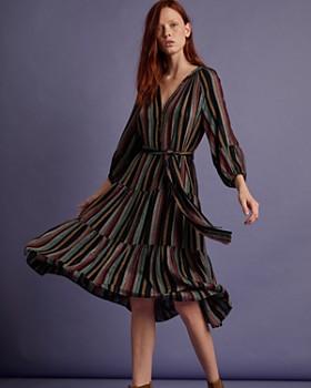 Velvet by Graham & Spencer - Felicity Tiered Striped Midi Dress