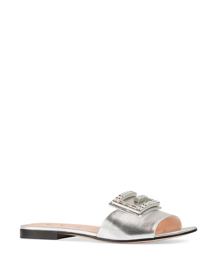 3821d54c7 Gucci Women's Madelyn Metallic Leather Slides with Crystal G ...
