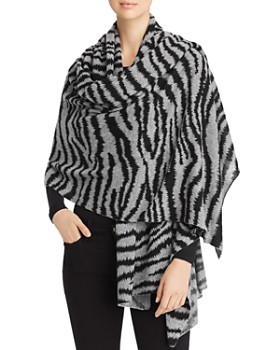 C by Bloomingdale's - Zebra-Stripe Cashmere Travel Wrap - 100% Exclusive