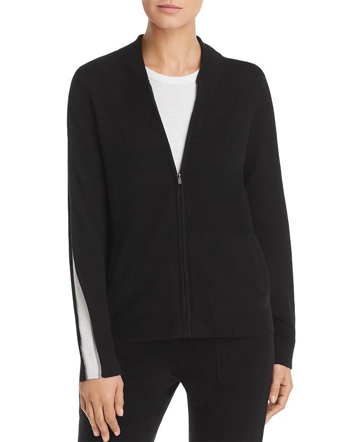 C by Bloomingdale's - Track-Stripe Zip-Front Cashmere Cardigan - 100% Exclusive