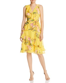 Adrianna Papell - Faux-Wrap Printed Chiffon Dress