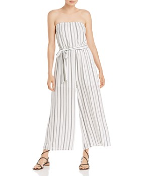 AQUA - Striped Strapless Jumpsuit - 100% Exclusive