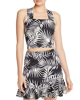 AQUA - Palm Print Cropped Top & Flounce-Hem Skirt - 100% Exclusive