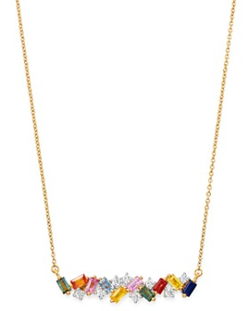"Bloomingdale's - Rainbow Sapphire & Diamond Bar Necklace in 14K Yellow Gold, 17"" - 100% Exclusive"