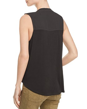 Splendid - Mixed-Media Surplice Tank