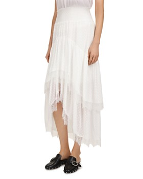 The Kooples - Smocked Tiered High/Low Maxi Skirt