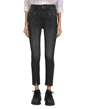 The Kooples - High-Rise Cropped Slim-Leg Jeans in Black Washed