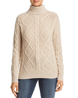 C by Bloomingdale's - Cable-Knit Cashmere Turtleneck Sweater - 100% Exclusive