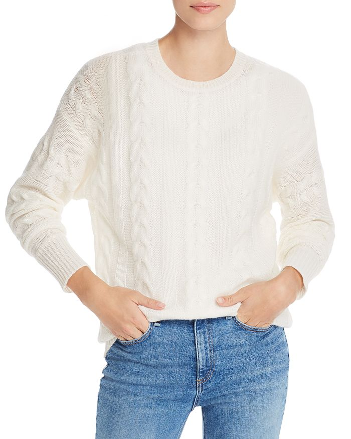 AQUA - Cable-Knit Crewneck Cashmere Sweater - 100% Exclusive