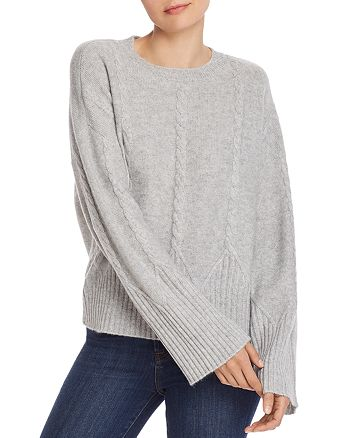 AQUA Cable Detail Cashmere Sweater 100% Exclusive