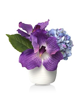 Diane James Home - Purple Orchid Faux Floral Arrangement in Porcelain Vase