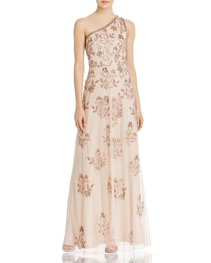 Adrianna Papell - Beaded Floral One-Shoulder Gown