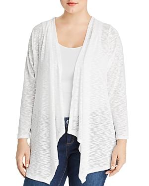 Cupio Plus Draped Lace-Inset Open-Front Cardigan